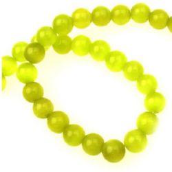 Наниз мъниста стъкло котешко око топче 8 мм дупка 1 мм жълто ~50 броя