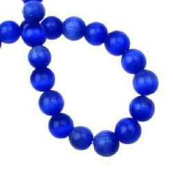 Наниз мъниста стъкло котешко око топче 8 мм дупка 1 мм синьо тъмно ~50 броя