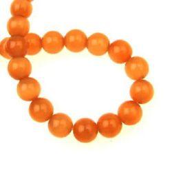 Наниз мъниста стъкло котешко око топче 8 мм дупка 1 мм оранжево ~50 броя