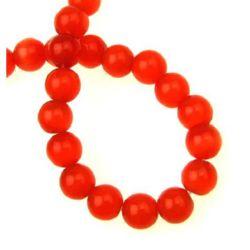 Наниз мъниста стъкло котешко око топче 8 мм дупка 1 мм червено ~50 броя