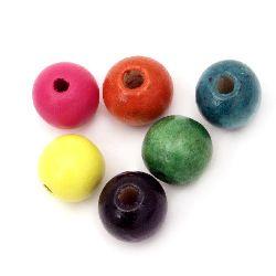Мънисто дърво топче 14x16 мм дупка 4~5 мм МИКС -50 грама ~38 броя