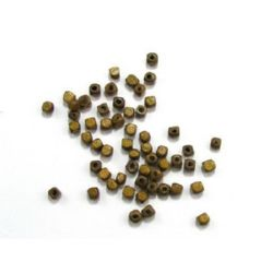 Wood Beads, Cube, Light Brown, 4mm, hole 1.5mm, 20 grams ~ 320 pcs