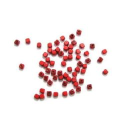 Wood Beads, Cube, Red, 4mm, hole 1.5mm, 20 grams ~ 320 pcs