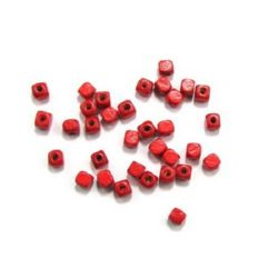 Wood Beads, Cube, Red, 5mm, hole 2mm, Grade A, 50 grams ~ 300 pcs