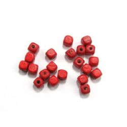 Wood Beads, Cube, Red, 8mm, hole 3mm, 50 grams ~ 220pcs
