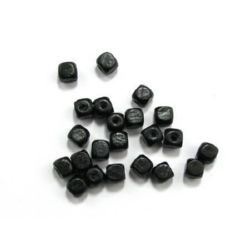 Wood Beads, Cube, Black, 8mm, hole 3mm, 50 grams ~ 220pcs