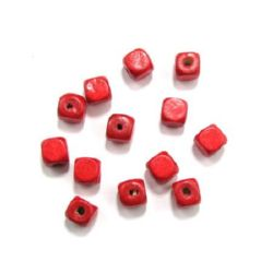 Wood Beads, Cube, Red, 10mm, hole 3.5mm, 50 grams ~ 100 pcs