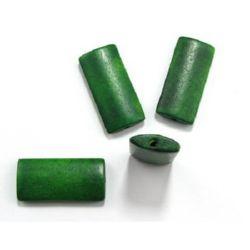 Правоъгълник дърво 40x19x6 мм дупка 3 мм зелен -10 бр