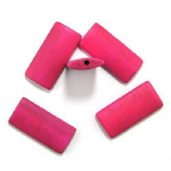 Natural wooden rectangle bead for DIY Jewelry and Crafts 40x19x6 mm hole 3 mm pink - 10 pcs.