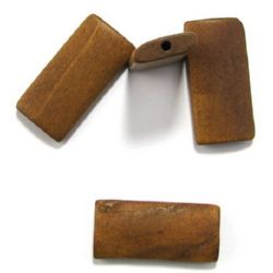 Natural wooden rectangle bead for DIY Jewelry and Crafts 40x19x6 mm hole 3 mm light brown - 10 pcs.