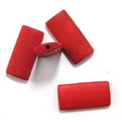 Natural wooden rectangle bead for DIY Jewelry and Crafts  40x19x5.5 mm hole 2.5 mm red - 10 pieces