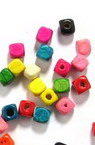 Wood Beads, Cube, Mixed Colors, 4mm, 20 grams