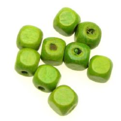 Wood Beads, Cube, Green, 8mm, hole 3mm, 50 grams ~ 220pcs