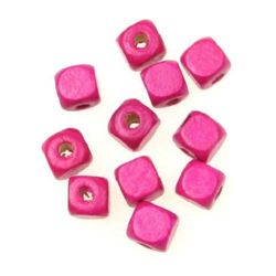 Wood Beads, Cube, Pink, 10mm, hole 3.5mm, 50 grams ~ 100 pcs