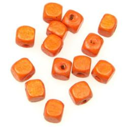 Wood Beads, Cube, Dark Orange, 6mm, hole 2mm, 50 grams ~ 500 pcs