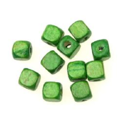 Wood Beads, Cube, Green, 10mm, hole 3.5mm, 50 grams ~ 100 pcs