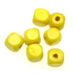 Wood Beads, Cube, Yellow, 8mm, hole 3mm, 50 grams ~ 220pcs