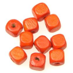 Wood Beads, Cube, Dark Orange, 8mm, hole 3mm, 50 grams ~ 220pcs
