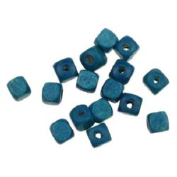 Wood Beads, Cube, Blue, 6mm, hole 3.5mm, 50 grams ~ 390 pcs