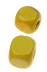 Wood Beads, Cube, Yellow, 10mm, hole 3.5mm, 50 grams ~ 100 pcs