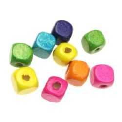 Wood Beads, Cube, Mixed Colors, 10mm, hole 3.5mm, 50 grams ~ 100 pcs