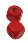 Куб дърво 7x7 мм дупка 1 мм червен -20 грама ~100 броя