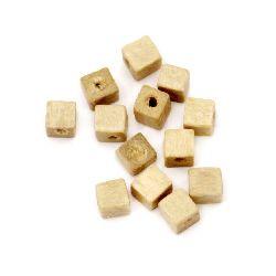 Куб дърво 3x3 мм дупка 1 мм цвят дърво -10 грама ~450 броя