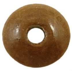Wooden disk beads  3x11 mm hole 3 mm brown - 50 g ~ 270 pieces