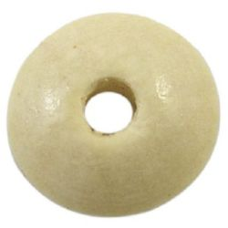 Диск дърво 6x14 мм дупка 4 мм бял -50 грама ~ 140 броя