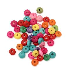 Wooden disk beads 8x4 mm hole 2 mm mix - 50 grams ± 600 pieces