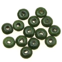 Wooden disk beads  3x6 mm hole 2 mm dark green - 50 grams