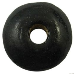 Wooden disk beads  3x6 mm hole 2 mm black - 50 grams