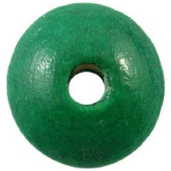 Мънисто дърво диск 5x10 мм дупка 3 мм зелено -50 грама ±400 броя