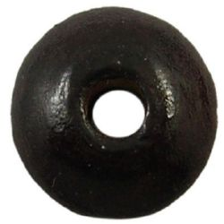 Wooden disk beads  5x10 mm hole 2 mm black - 50 grams