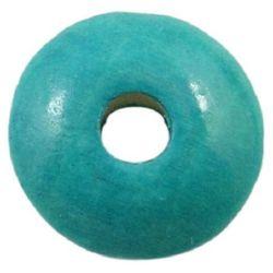 Мънисто дърво диск 5x10 мм дупка 3 мм синьо светло -50 грама ~400 броя