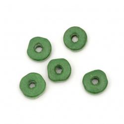 Мънисто дърво шайба 8x3 мм дупка 3 мм зелено -50 грама ~570 броя