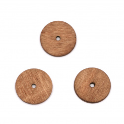 Мънисто дърво кръг 19x2 мм дупка 2 мм цвят кафяв -20 броя