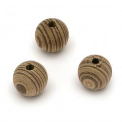 Мънисто дърво топче 19x20 мм дупка 4 мм двуцветно -5 броя