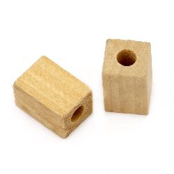 Natural unfinished wooden rectangle bead for DIY Jewelry and Crafts 15x10 mm hole 4.5 mm color wood - 10 pieces