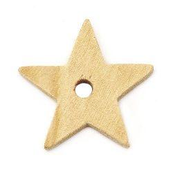 Звезда дърво 59x9 мм дупка 8 мм цвят дърво -2 броя