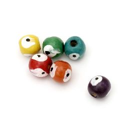 Wooden round bead  with eye 11x11 mm hole 4 mm MIX - 20 grams ± 30 pieces