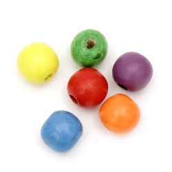 Мънисто дърво топче 16x18 мм дупка 4 мм микс -50 грама ~26 броя