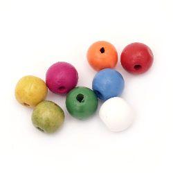 Мънисто дърво топче 18x20 мм дупка 4 мм МИКС -50 грама ~20 броя