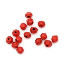 Топче дърво 6x7 мм дупка 2 мм червено -20 грама ~210 броя