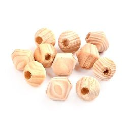 Wooden bead 16x15 mm hole 5 mm two-color - 10 pieces
