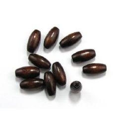 Lemn oval 20x10 mm gaură 3,5 mm maro -50 grame ~ 50 bucăți