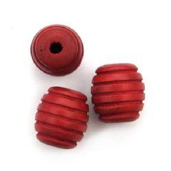 Овал дърво 24x22 мм дупка 5~6 мм резбован червен -5 броя