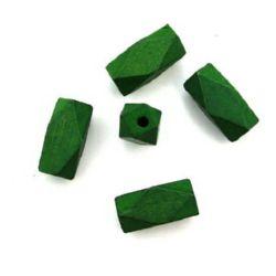 Мъниста многоъгълна дърво 25x12 мм дупка 3 мм зелена -10 броя