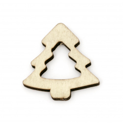 Wooden Figurine for decoration christmas tree 40x39x5 mm color tree -5 pieces