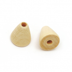 Natural unfinished wooden cone bead for DIY Jewelry and Crafts 16x15 mm hole 3.5 mm color wood - 10 pieces